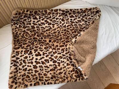Eh Gia Blanket leopard x teddy brown 60x85