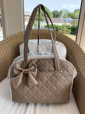 Life Bag ecru taupe with bow
