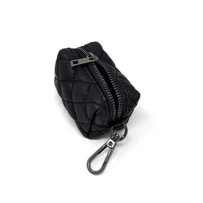 Paris Quilted Black Poo Bag Holder