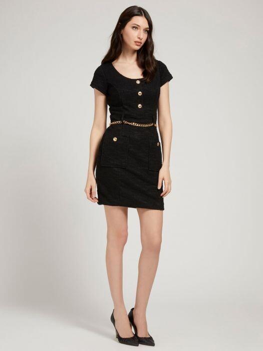 Guess Tiffany Tweed Dress Black