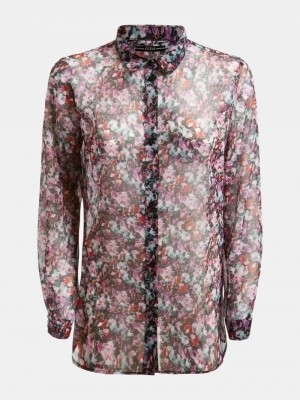 Clouis Shirt Glaced Flowers Lilac