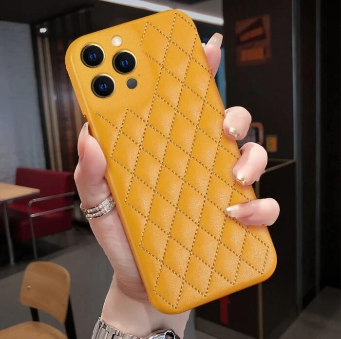 Coque de luxe en cuir pleine fleur avec surpiqures pour iPhone 12, 12 mini, 12 Pro, 12 Pro Max