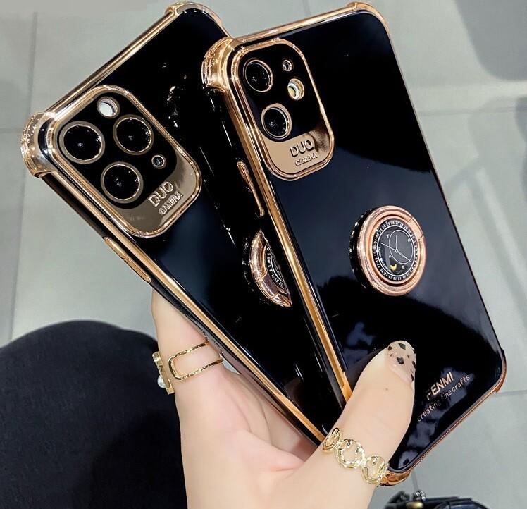 Coque de luxe noire et or pour iPhone (12, 11, SE, X, XR, XS, 8, 7)