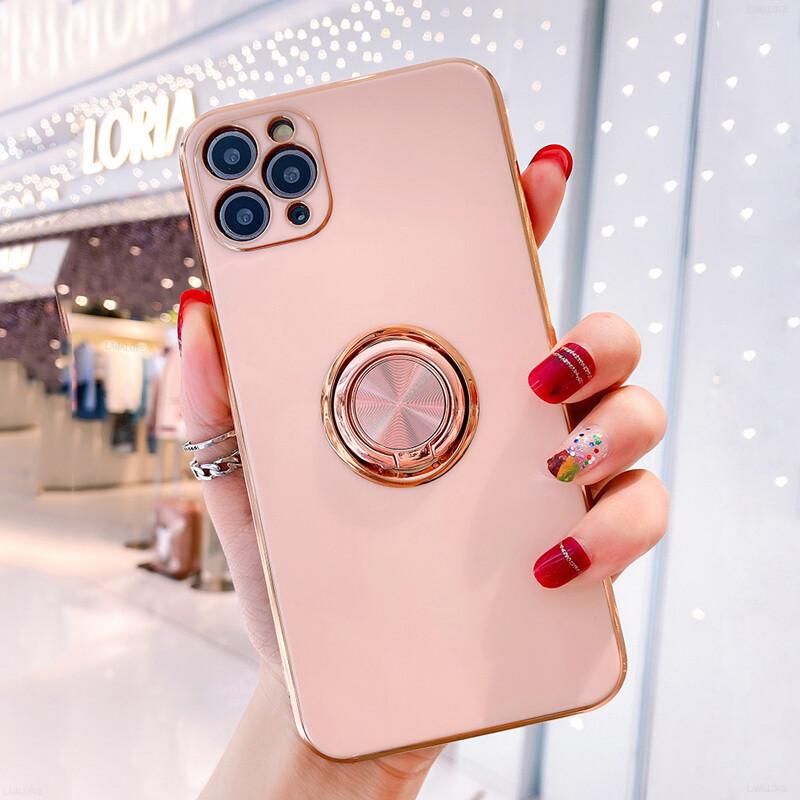 Coque de luxe monocolore avec anneau rond pour iPhone (12, 11, SE, X, XR, XS, 8, 7)