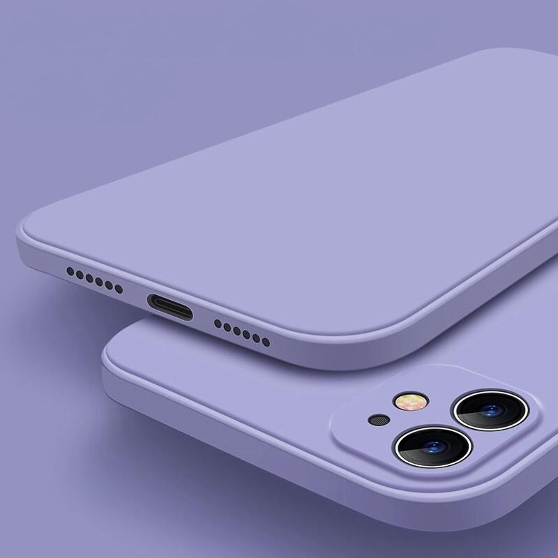 Coque en silicone liquide de haute qualité et de couleur unie pour iPhone  (12, 11, SE, X, XR, XS, 8, 7, 6)