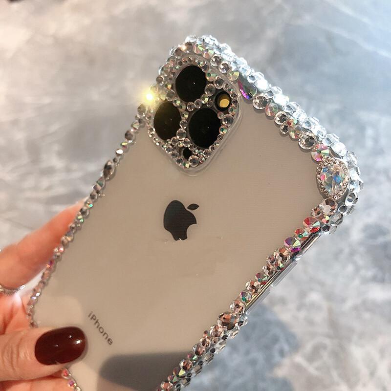 Belle coque transparente avec strass pour téléphone iPhone 12, 12 Mini, 12 Pro, 12 Pro Max, 11, 11 Pro, 11 Pro Max