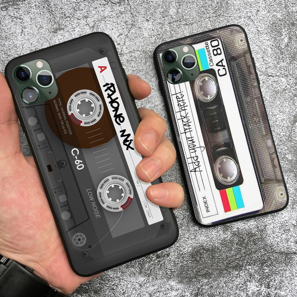 Coque imitation cassette audio pour iPhone (12, 11, X, XR, XS, 8, 7, 6)