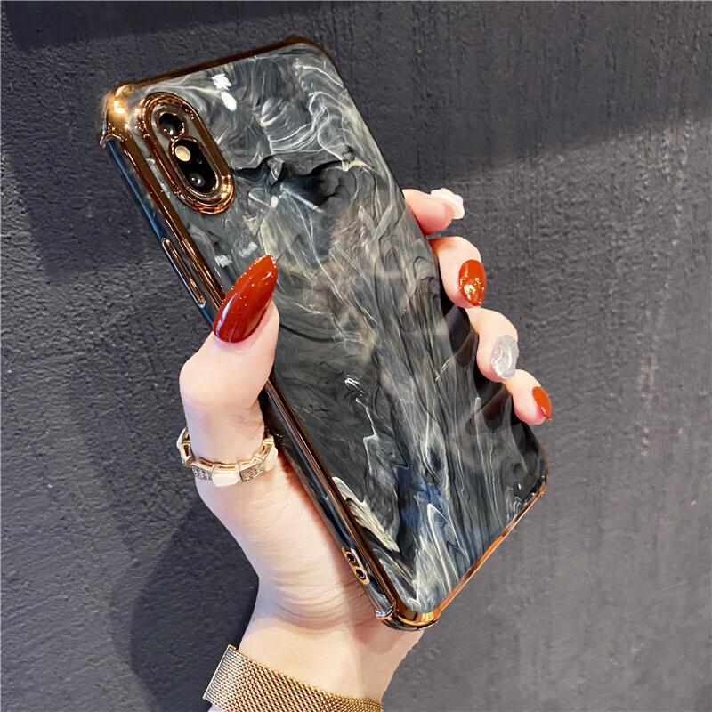 Coque brillante imitation marbre pour iPhone (12, 11, SE, X, XR, XS, 8, 7)