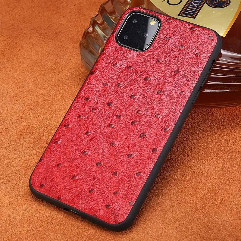 Coque en cuir pleine fleur imitation autruche pour iPhone (12, 11, SE, X, XR, XS, 8, 7, 6, 5)