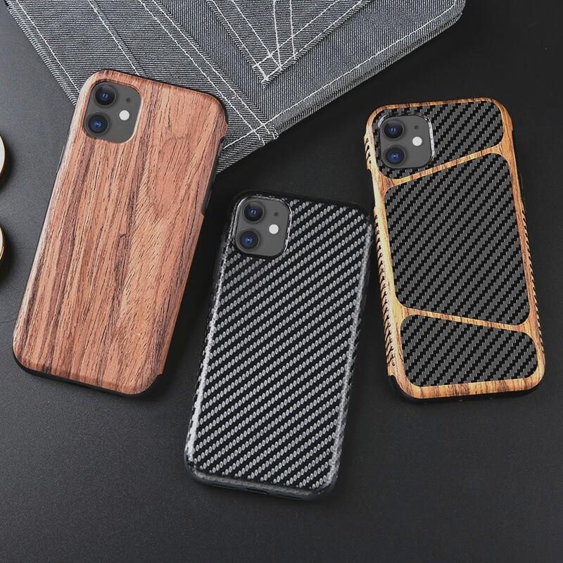 Coques imitation bois et/ou fibre de carbone pour iPhone