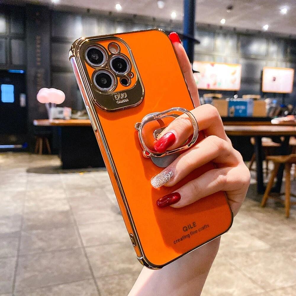 Coque de luxe monocolore avec anneau ovale pour iPhone (12, 11, SE, X, XR, XS, 8, 7)