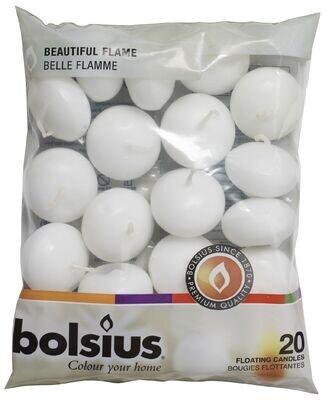 Bolsius drijfkaarsen 20stuks wit