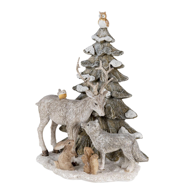 Kerstboom met hert wolf en eekhoorns