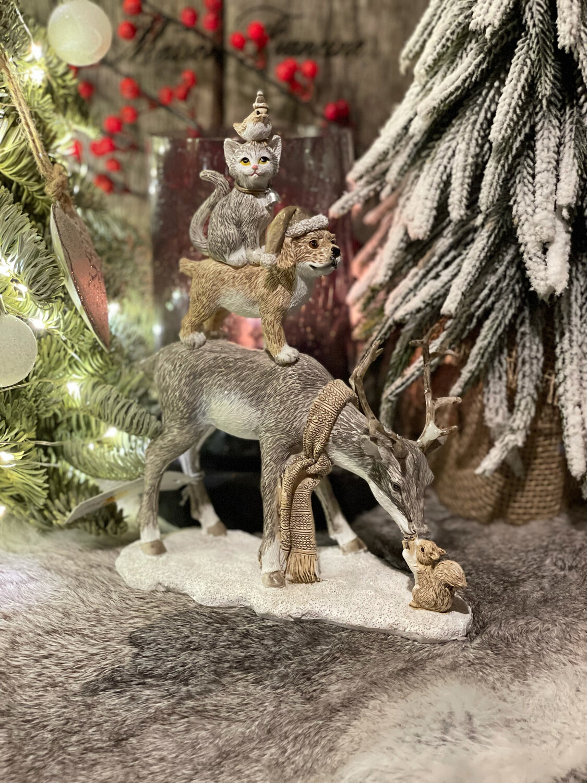 Kerst hert met dieren