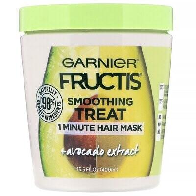 Garnier, Fructis, Smoothing Treat, 1 Minute Hair Mask + Avocado Extract, 13.5 fl oz (400 ml)