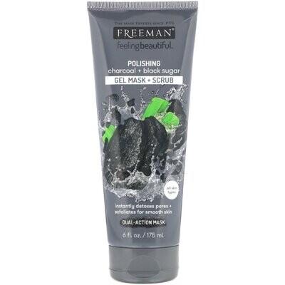 Freeman Beauty, Feeling Beautiful, Polishing Gel Beauty Mask + Scrub, Charcoal + Black Sugar, 6 fl oz (175 ml)