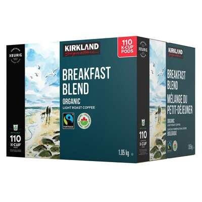 Kirkland Signature Organic Breakfast Blend K-Cup Pods 110-Pack
