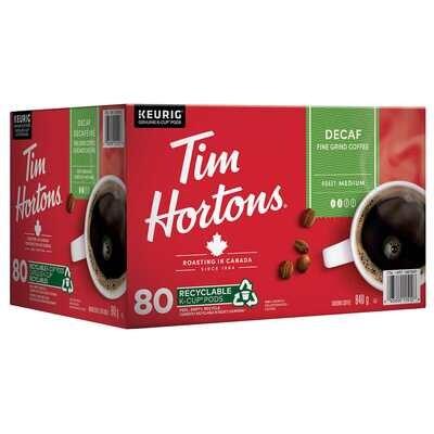 Tim Hortons Single-Serve Decaf K-Cup Pods of 80