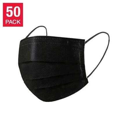 Civilian General Purpose Black Disposable 3 Layer Face Mask of 50