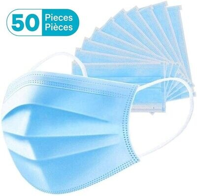 Blue Disposable 3 Layer Face Mask of 50 - BoomCare