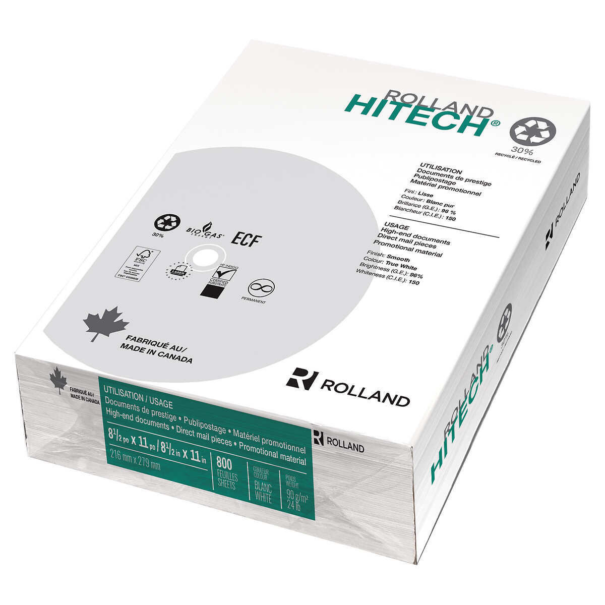 Rolland Hitech Copy Paper 30% Recycled - 8.5 in × 11 in, 800 Sheets