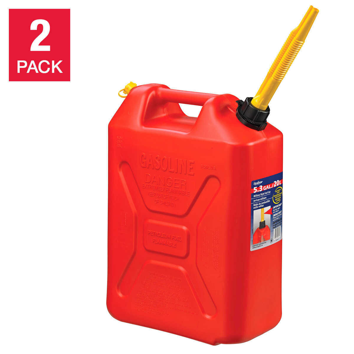 Scepter Self Venting Military Style 20 L Gas Can 2-pack