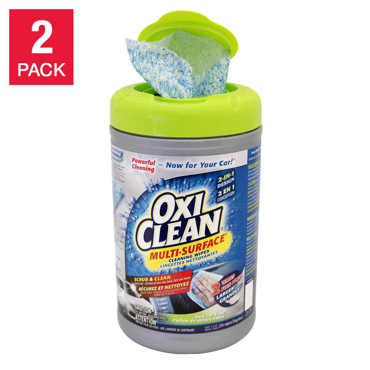 Oxi Clean Duo Wipes Multi Purpose Cleaning Towels - Total of 60 count (2 Pack)