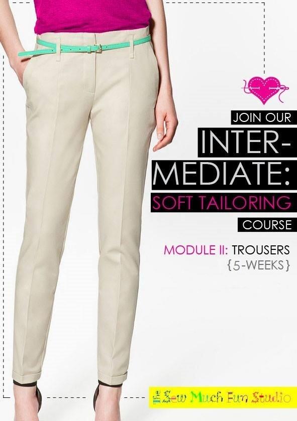 Intermediate Course- Pants Component- TUES  9 NOV 6-9pm x 5 weeks + 1 SewAlong
