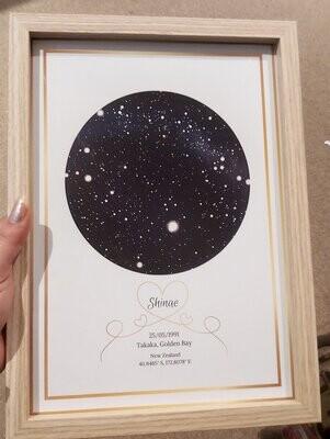 Framed Star map-Poster size