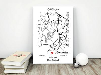 Custom city twin/ single maps-Love gift edition