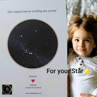 Mounted foam board star map