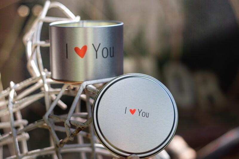 Vela Aromática na Lata - I Love You