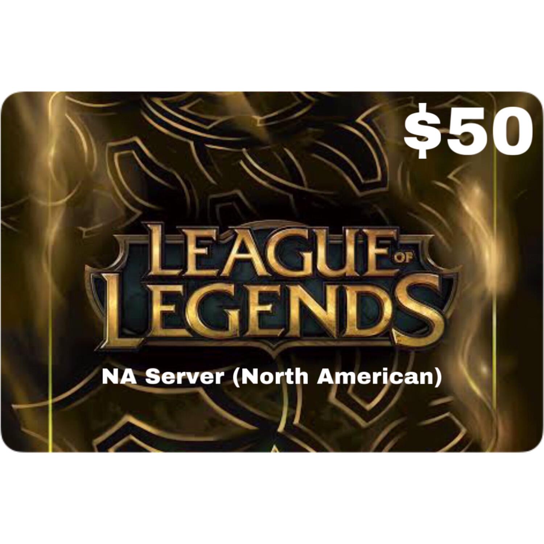 League of Legends $50 (NA Server) 7200 Riot Points