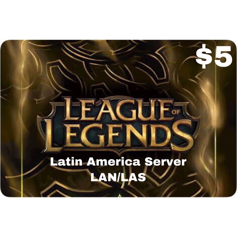 League of Legends $5 Latin America LAS and LAN Servers