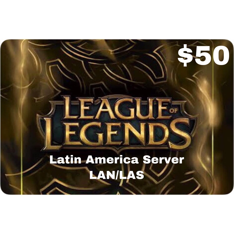 League of Legends $50 Latin America LAS and LAN Servers