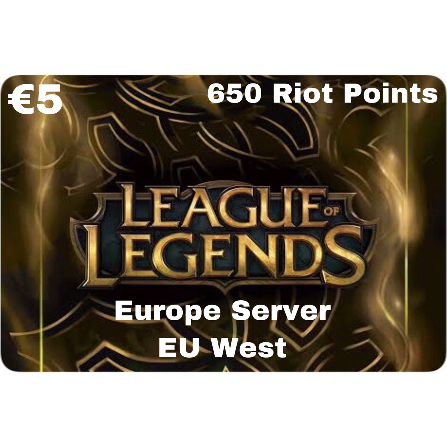 League of Legends €5 Europe Server 650 Riot Points EU West