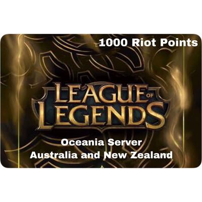 League of Legends Oceania Server 1000 Riot Points AU