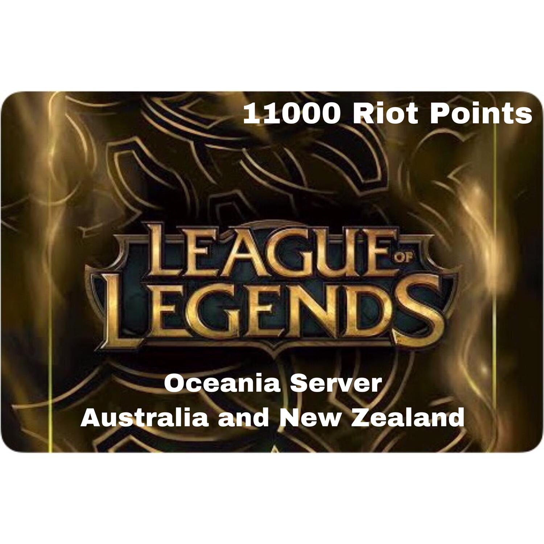 League of Legends Oceania Server 11000 Riot Points AU