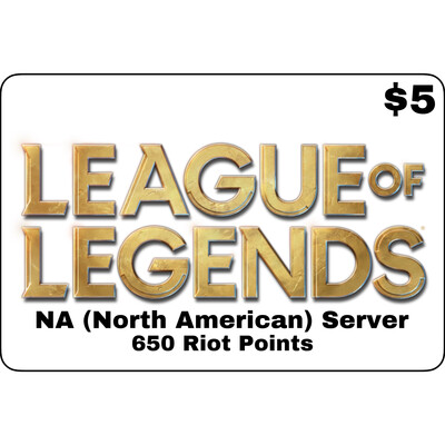 League of Legends USD $5 NA Server 650 Riot Points