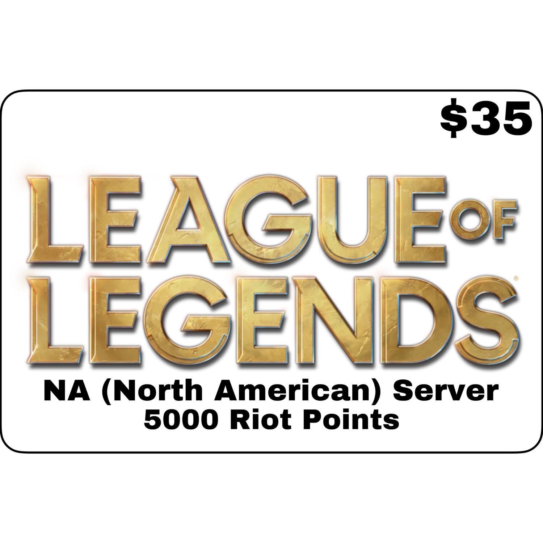 League of Legends $35 (NA Server) 5000 Riot Points