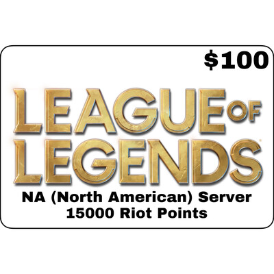League of Legends USD $100 NA Server 15000 Riot Points