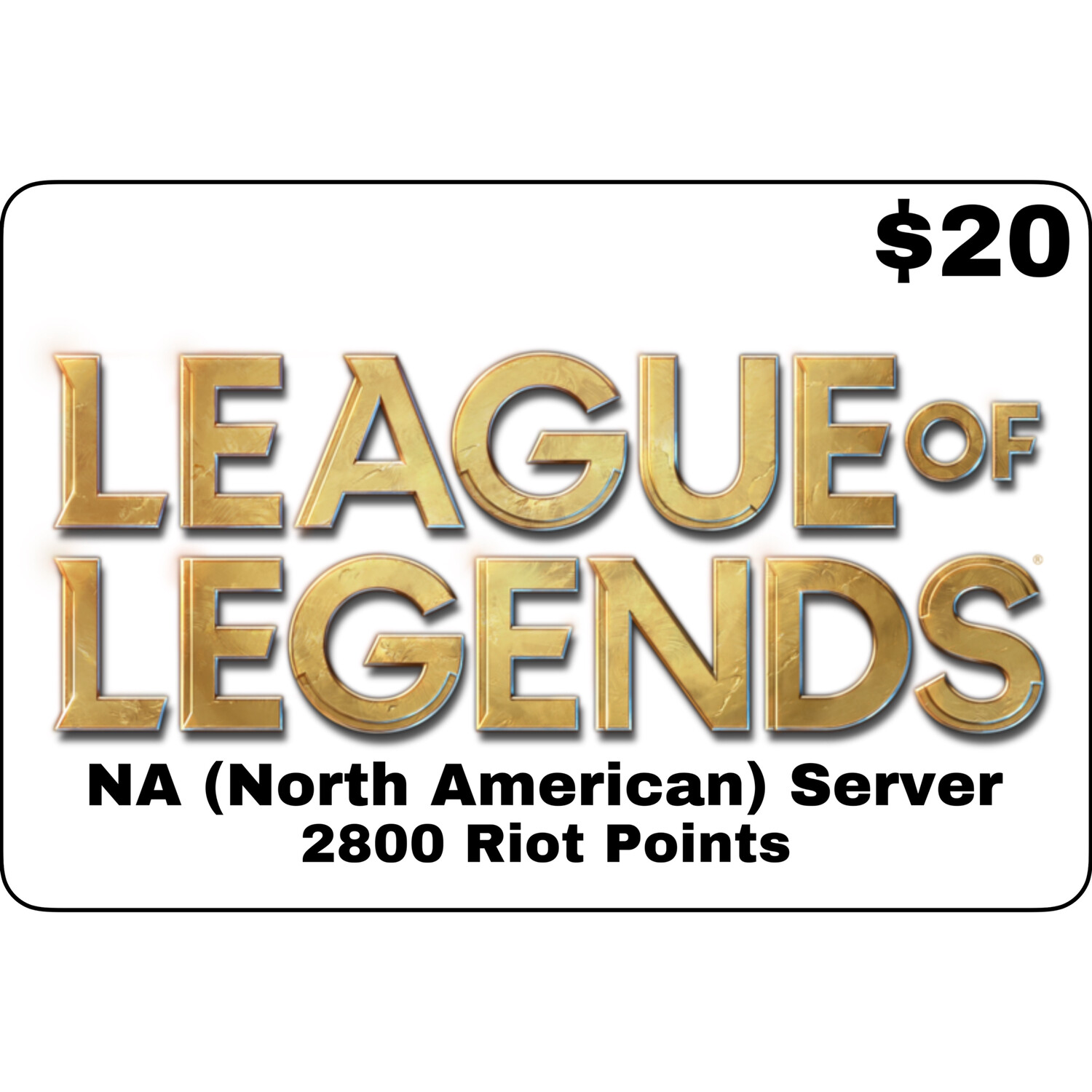 League of Legends USD $20 NA Server 2800 Riot Points