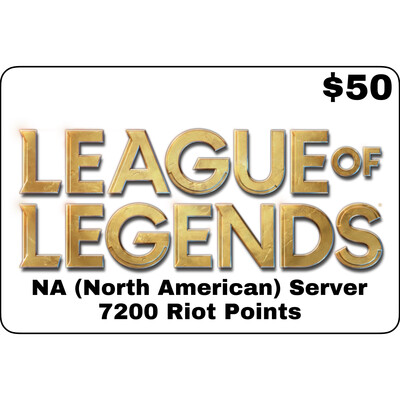 League of Legends USD $50 NA Server 7200 Riot Points