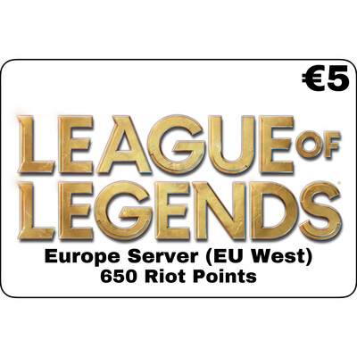 League of Legends EUR €5 Europe Server 650 Riot Points