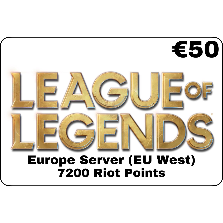League of Legends €50 Europe Server 7200 Riot Points EU West
