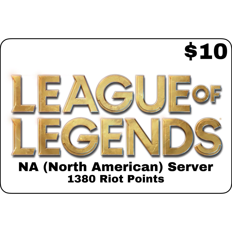 League of Legends USD $10 NA Server 1380 Riot Points