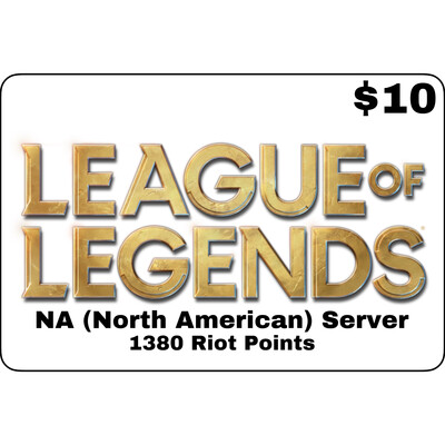 League of Legends USD $10 NA Server 1380 Riot Points