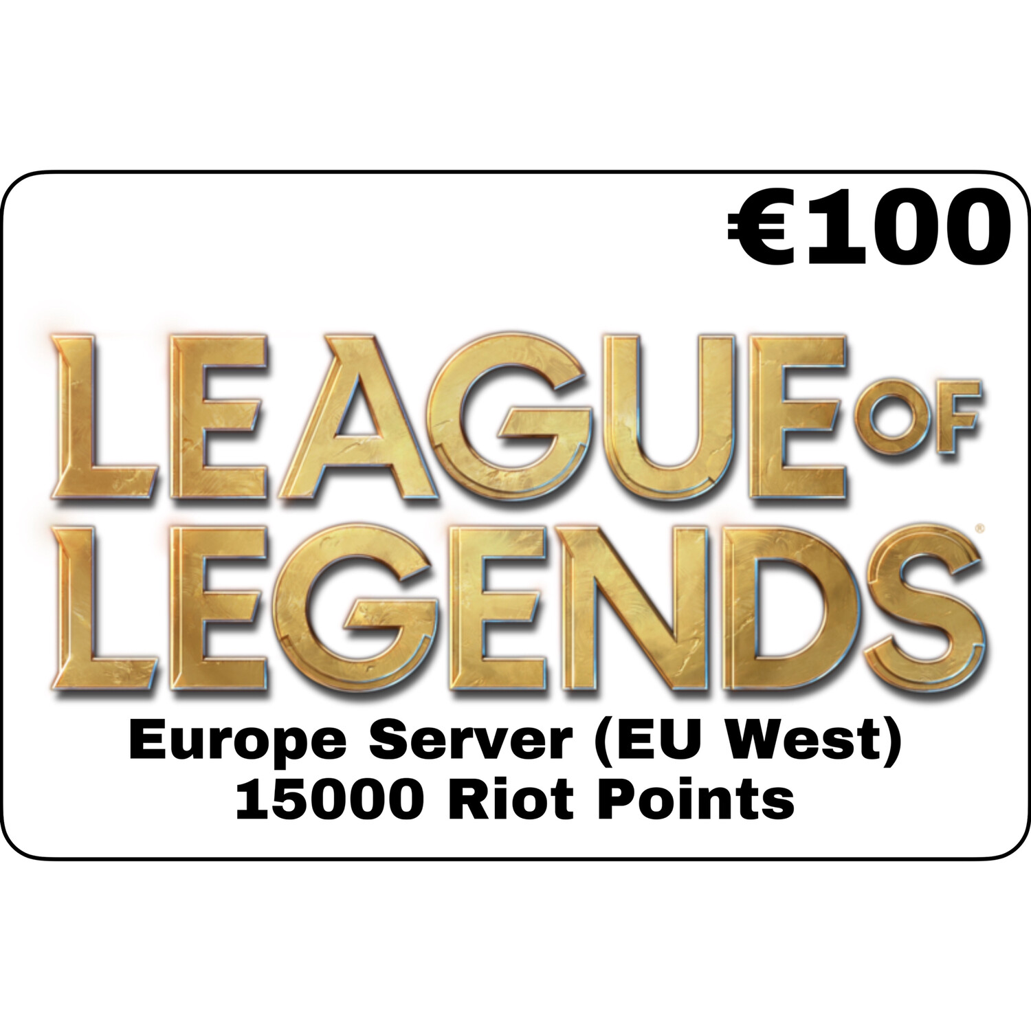 League of Legends €100 Europe Server 15000 Riot Points EU West