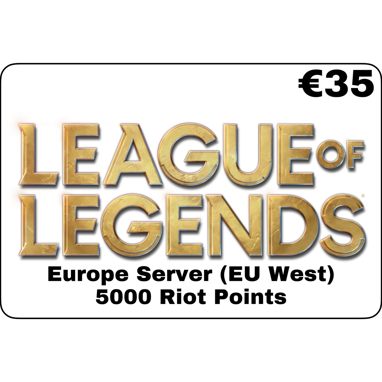 League of Legends EUR €35 Europe Server 5000 Riot Points EU West