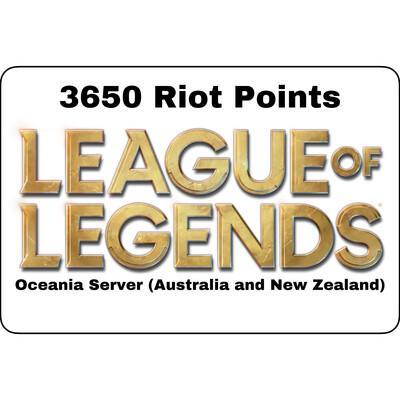 League of Legends Oceania Server 3650 Riot Points AU